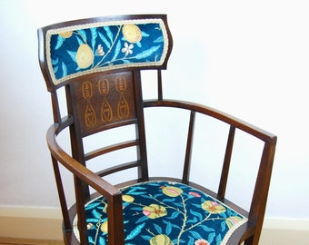 Antique upholstered Arts & Crafts Inlaid Armchair by J S Henry (London)