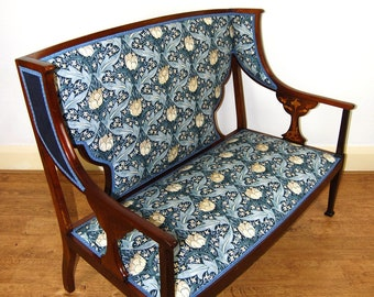 Antique upholstered Art Nouveau mahogany & rosewood wing back settee
