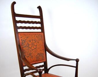 Antique upholstered Edwardian Art Nouveau High Back Open Armchair