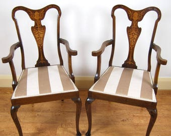 Antique upholstered stunning pair of stamped G. Tilley Edwardian marquetry inlaid elbow chairs / side chairs/ armchairs