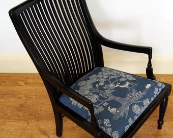 Charming Antique Aesthetic Movement upholstered Small Painted Ebonised Child's Chair by Druce & Co.