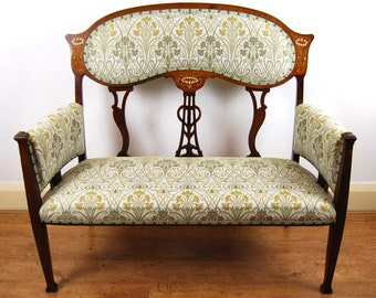Antique upholstered Art nouveau solid mahogany marquetry inlaid settee