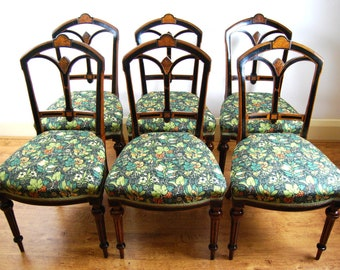 Antique upholstered Victorian set of 6 walnut and ebonised dining chairs by Crosby & Sons Liverpool