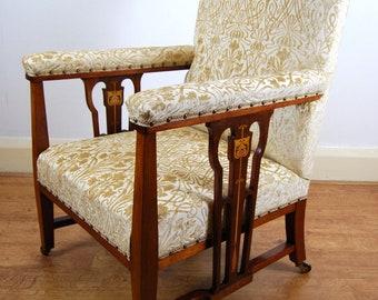 Antique upholstered Edwardian Art Nouveau inlaid armchair
