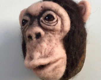needle felted chimpanzee by feltfactory, faux taxidermy