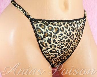 16b645f75 VTG style Joe Boxer like ladies shiny high gloss Satin Leopard Animal Print  string bikini panties S - Xl