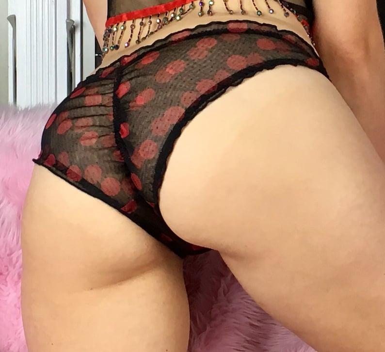 GIFT SET Sheer Red Black Polka Dot Ruffled Halloween Boudoir classy Satin bra and panties set Lingerie underwear