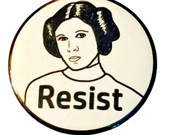 Princess Leia Resist - political protest pin back button