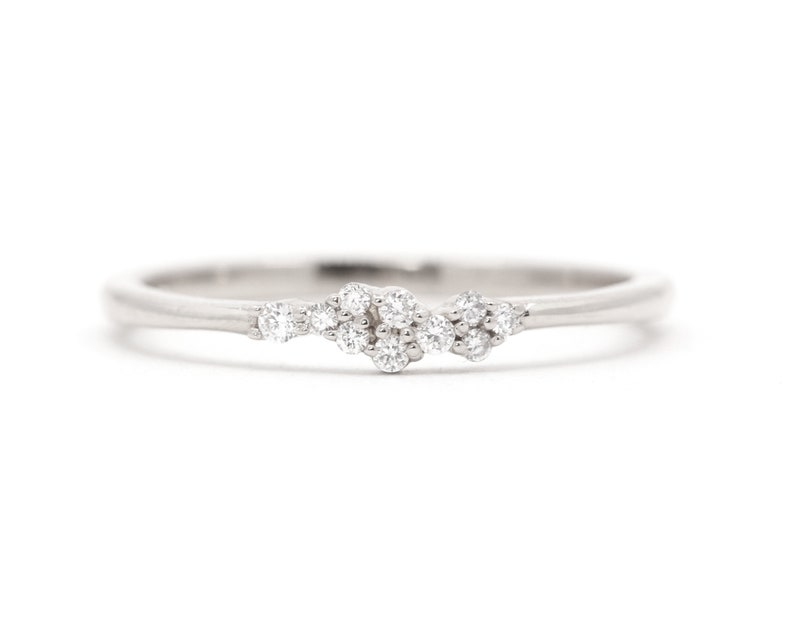 Tiny Natural Diamond Cluster Wedding Band14K Solid gold Women/'s Thin Band with Small Round Real DiamondsFriendship RingGraduation Gift
