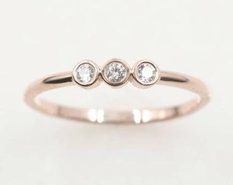 3 Diamond Wedding Band.Diamond Wedding Ring.Dainty Diamond Band.14k Rose Gold Ring.Simple Diamond Ring.Natural Diamond Simple Band.