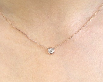 0.20Ct.Diamond Necklace.Diamond By The Yard Necklace 0.20Ct.14K Solid Gold Dainty Womens Diamond Bezel Necklace.Diamond Solitaire Necklace