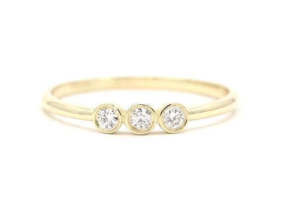 Women/'s 14K Gold Minimalist Dainty 3 Diamond Delicate Promise Engagement Wedding Band Ring with Bead design Bezel YG, WG