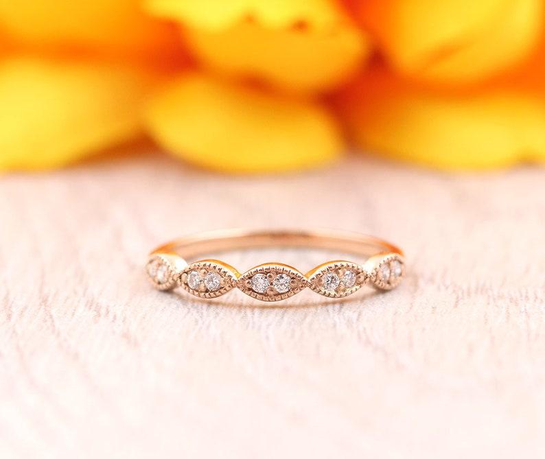 Art Deco Diamond Wedding Band.Round Diamond Marquise shape Wedding Ring.14K Solid gold Matching Authentic Diamond Wedding Band for Women.