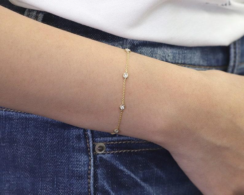 Natural 5 Diamond Bracelet/0.20ct High Quality Diamond image 0