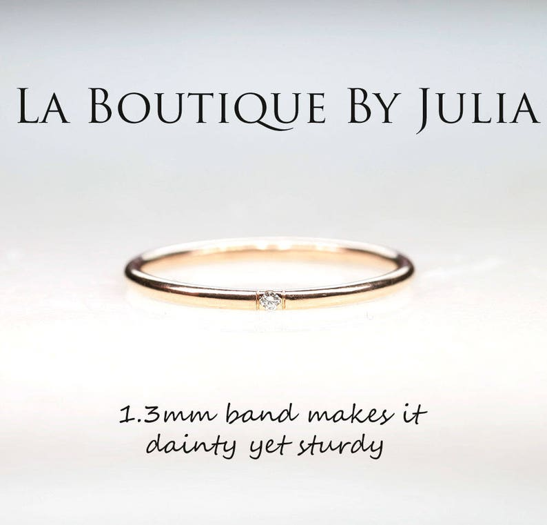 a552d04466210 Diamond Rose Gold Wedding Band.1.3MM Diamond Promise Ring.Dainty Diamond  Thin Simple Gold ring.14K solid gold Minimalist Stackable Ring