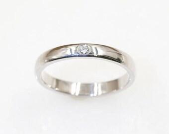Diamond Wedding Band.3MM Wedding Band.14K Solid Gold& Natural Diamond Promise Ring.Diamond Wedding Ring.Women's Wedding Band.Diamond Ring