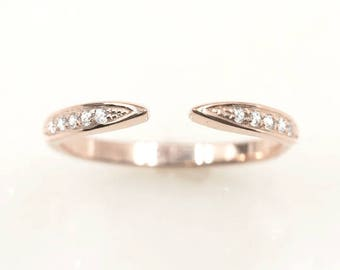 Diamond Open Wedding Band/14K Solid gold diamond spacer ring/Opened band for Engagement ring/Diamond Matching Ring/Unique Wedding ring