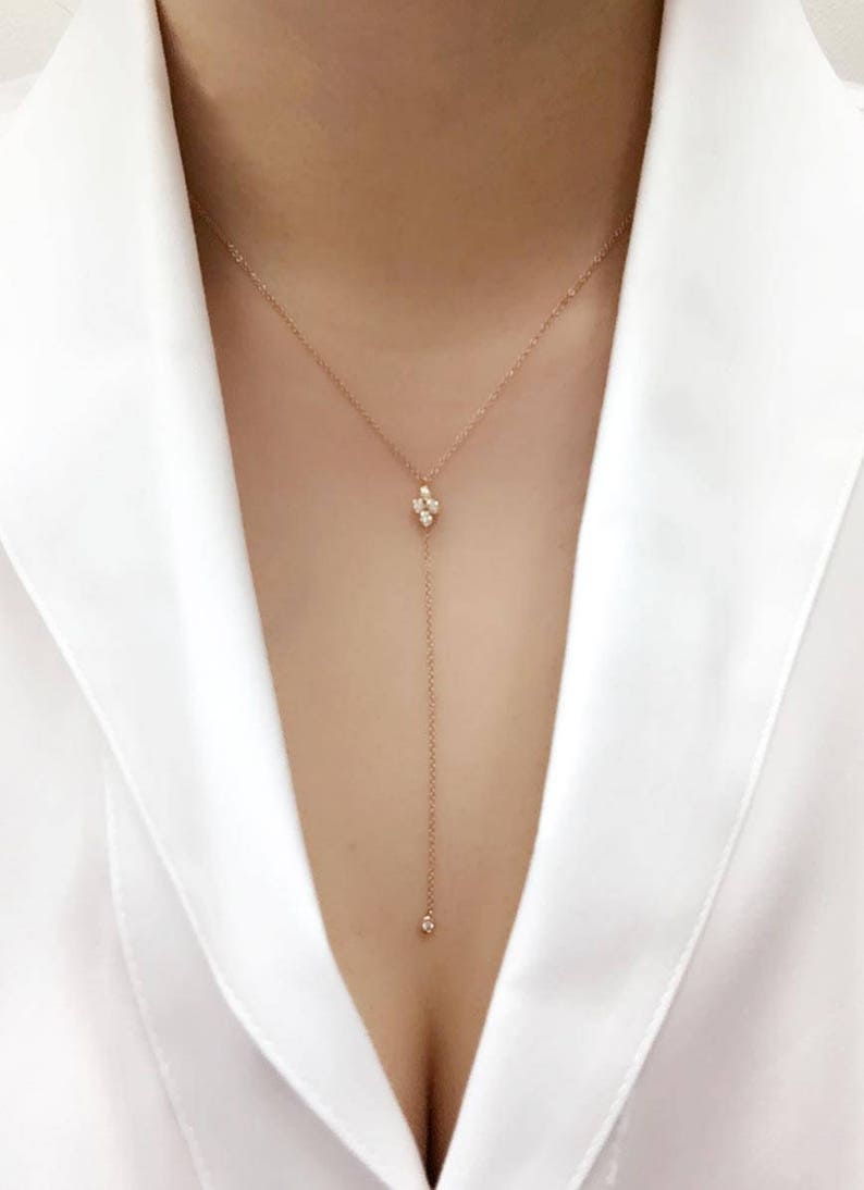 cc6e7e9402bb9c Diamond Lariat Necklace. 5 Diamonds Lariat Necklace.Diamond | Etsy