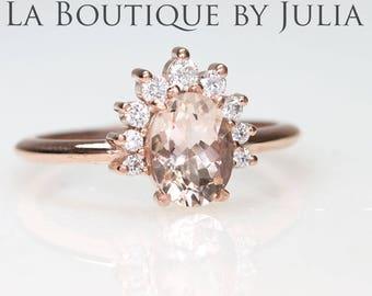 Morganite engagement ring.Rose gold engagement ring.Diamond nest Engagement ring.Dainty Crown Engagement ring.14K gold Chevron Wedding ring