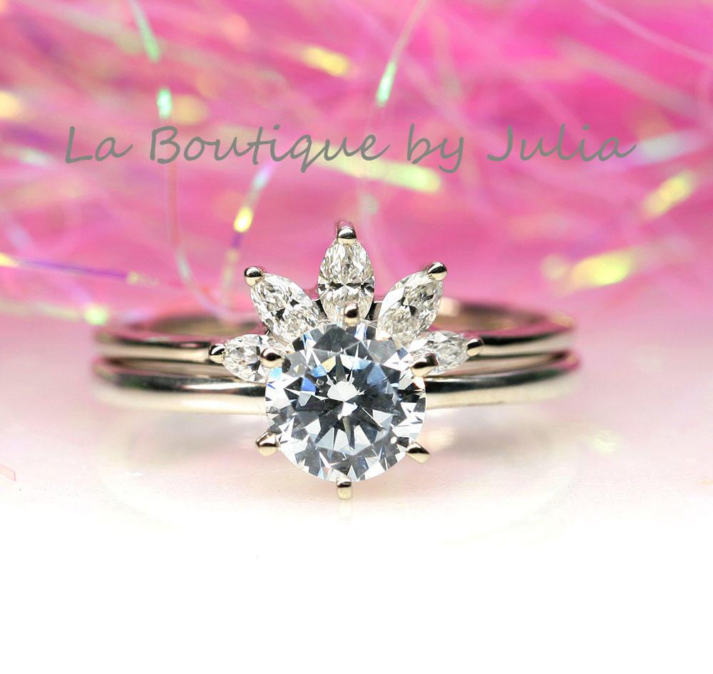 1Ct. Moissanite Engagement Bridal Set.Diamond Nesting
