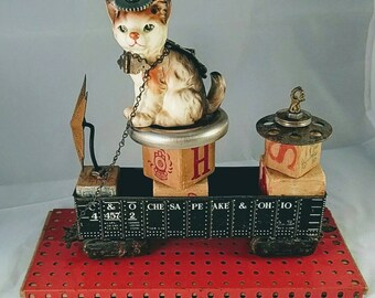 ASSEMBLAGE CAT Train,Chessie,Chesapeake Ohio,  Junk Parts, Found Objects, Whimsical Railroad Decor
