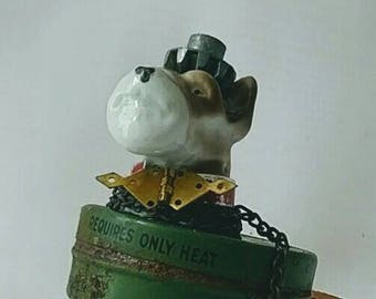 ASSEMBLAGE DOG Sitting For Treat, Terrior, Found, Junk Parts, Objects,Steampunk Whimsical Decor