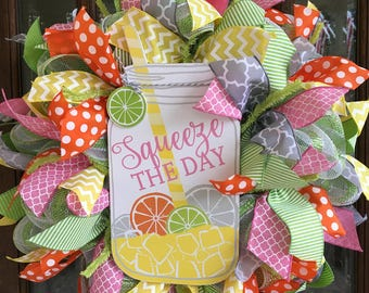 "Spring/Summer ""Squeeze the Day"" Deco Mesh Wreath"
