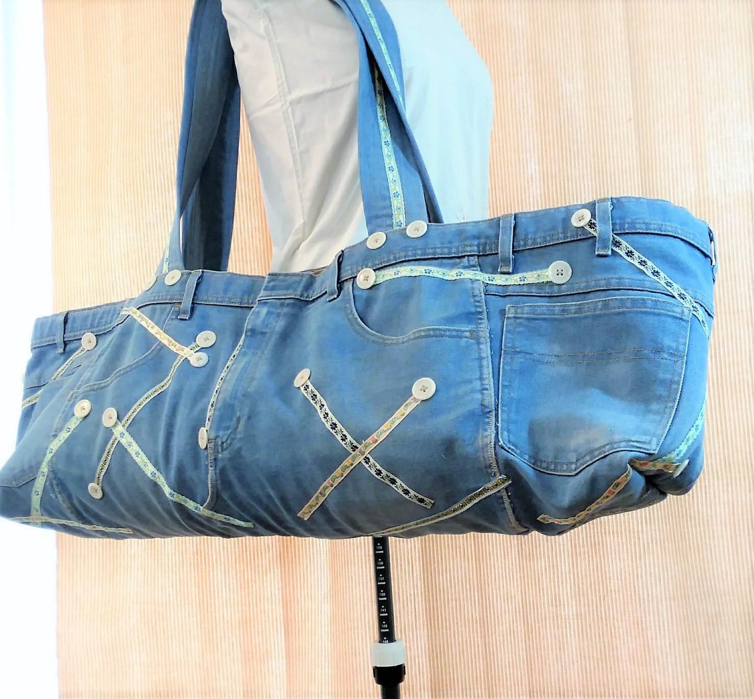 Yoga Mat Tote Bag Upcycled Repurposed Dad Jeans Denim Yoga  4c734994b691a
