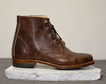 Men's, Multiple sizes available *** Handmade Leather Guatemalan Boots, Brown leather