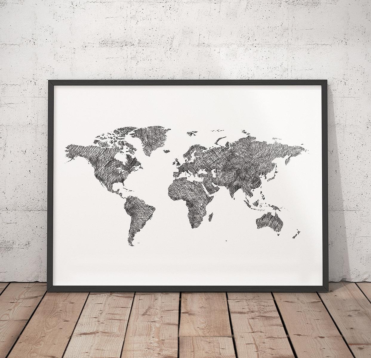 World map Black & White map Hand drawn map Modern map | Etsy