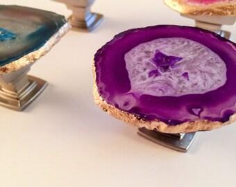 Agate Handles  -Blue - Brown - Pink - Purple Cabinet Handles – Pulls - Boho Décor