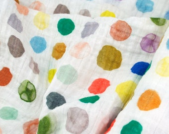 Double Gauze Fabric, Watercolor Dots in Warm by Katie Vernon - 100% cotton muslin fabric by the half yard - great for baby swaddle blankets