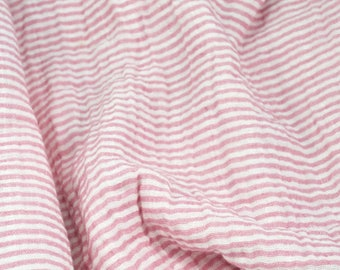 Double Gauze Fabric, Rose Pink Stripe - 100% cotton muslin fabric by the half yard - great for sewing baby swaddle blankets