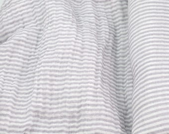 Double Gauze Fabric, Light Grey Stripe - 100% cotton muslin fabric by the half yard - great for sewing baby swaddle blankets