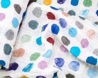Double Gauze Fabric, Watercolor Dots in Cool by Katie Vernon - 100% cotton muslin fabric by the half yard - great for baby swaddle blankets