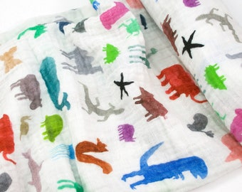 Double Gauze Fabric, Wild Animals by Katie Vernon - 100% cotton muslin fabric by the half yard - great for baby swaddle blankets - HALF YARD