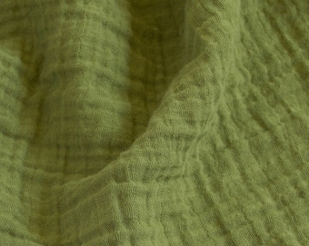 "1 yard olive green fabric - 100% cotton muslin double gauze 52"" wide"