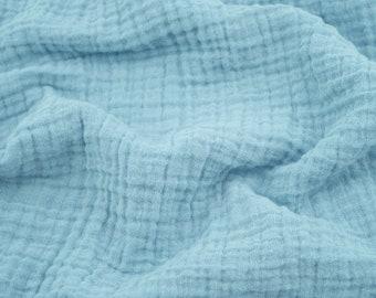 "1 yard ocean blue fabric - 100% cotton muslin double gauze 52"" wide"