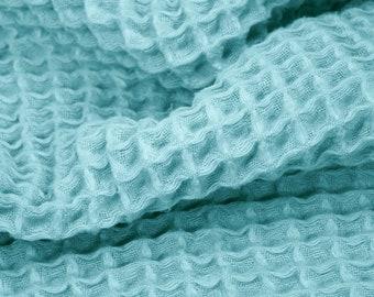 "Sunny Waffle Gauze - 1 Yard - Ocean Blue (a blue/green aqua color) - 100% cotton waffle fabric - 40"" wide"