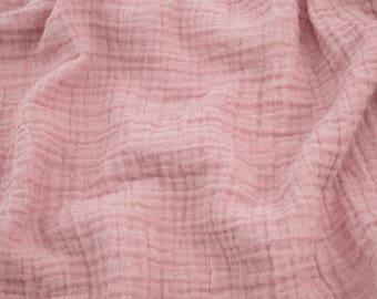 "1 yard blush pink fabric - 100% cotton muslin double gauze 52"" wide"