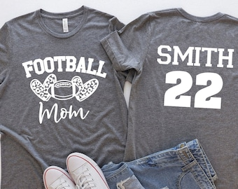 Football Mom Shirt - Personalized With Name And Number - Gameday Shirt For Mom - Gift For Football Mom
