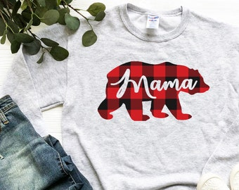 Mama Bear Hoodie  Mama Bear  Mama  Buffalo Plaid  Distressed Hoodie  Holiday  Gift  Christmas  Fall  Mom  Plaid