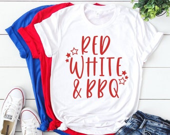 271a42804 Red White & BBQ Unisex 4th of July T-shirt - Fourth of July T-shirt - Funny  July 4th Shirts - Independence Day Shirt