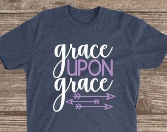 Grace Upon Grace Heather Navy T-shirt - Bible Scripture Shirts - Motivational Shirts - Inspirational Shirts - Christian Shirts - Believe