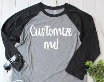 a5dfd416c Custom 3/4 Sleeve T-shirt - Customized Shirt - Custom Raglans - Custom  Black Shirts - Custom Black Raglan - Women's - Men's - Unisex - Adult