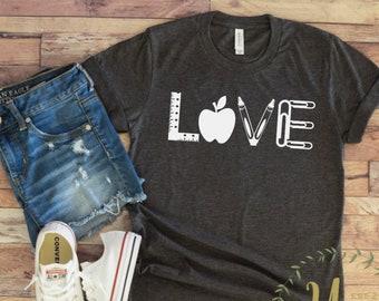 Love Teacher Shirt - Teacher T-shirt - Teacher Tees - Unisex or Women's - Cute Teacher Shirts - Teacher Appreciation Gift