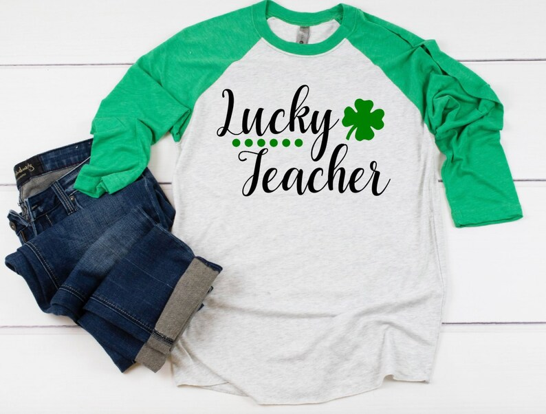 0abfdcbfdded Lucky Teacher St. Patrick's Day 3/4 Sleeve Raglan T-shirt | Etsy
