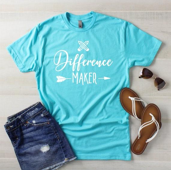 Teacher T Shirt Difference Maker Cute Teacher Shirt Gift Etsy