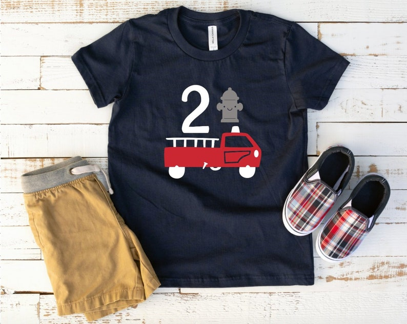 Toddler Boys Firetruck Birthday Shirt 2nd