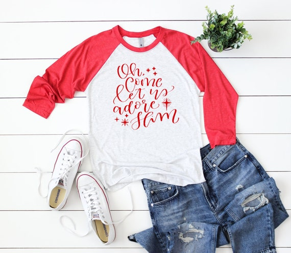 7fd61cc542d Let Us Adore Him Christmas 3 4 Sleeve T-shirt Christmas